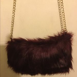 Handbags - Shoulder bag burgundy faux fur...so soft